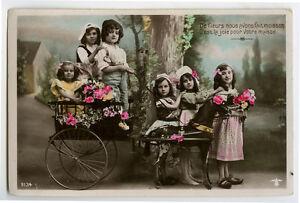 c-1910-Child-Cute-CHILDREN-w-PONY-CART-photo-postcard
