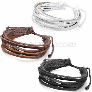 Men-039-s-Women-039-s-Simple-Fashion-Multilayer-Leather-Straps-Adjustable-Bracelet-Cuff