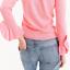 Pink Sz L Ny Sleeves Merino 99104896763 Crewneck J Ruffle H7721 Sweater Crew Uld Ya6wvqCa