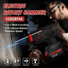 16x Cordless Rotary Hammer Drill Sds 21v 38 Brushless Chisel Bit Set Amp Battery