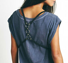 $48 Free People Surrey Leather Harness Vest Belt in Black NWT