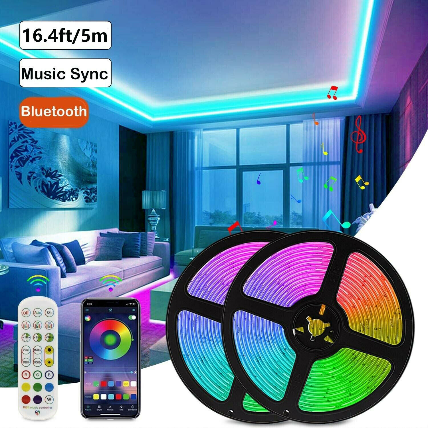 16.4 ft LED Strip Lights Bluetooth 5050 RGB Color Changing Remote for Room Xmas