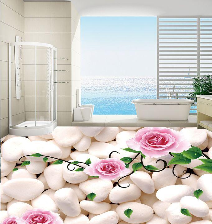 3D Piedra Plian Flores Papel Pintado Mural Parojo Calcomanía de impresión de piso 5D AJ Wallpaper