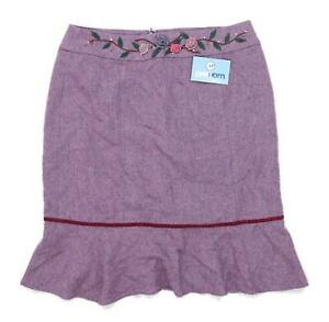 Precis Womens Size 16 Wool Blend Purple Embroidered Flare Skirt (Petite)