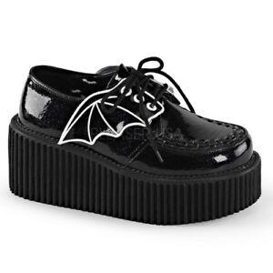 Demonia-CREEPER-205-Black-Glitter-Platform-Bat-Wings-Costume-Goth-Oxford-Shoes