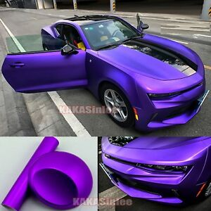 Whole-Car-Wrap-Stretch-Matte-Chrome-Purple-Satin-Vinyl-Sticker-50FT-x-5FT-AB