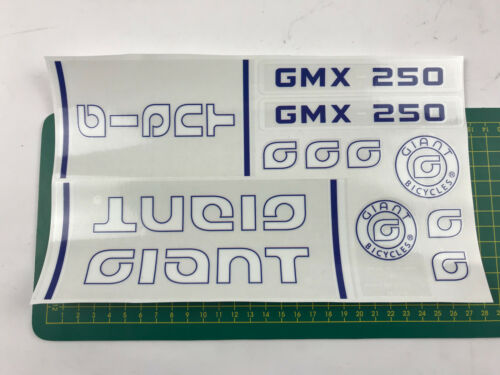 old school bmx decals stickers giant gmx-250 set blue and white on clear