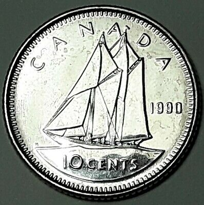 1990 CANADA TEN Cent Dime UNC 10 Cent Coin from Mint Roll Low Mintage