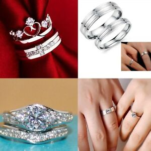 Image Is Loading Women 925 Sterling Silver Crystal Wedding Engagement Jewelry