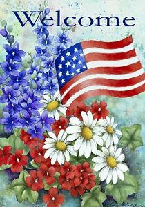 Patriotic welcome house flag decorative america red white flower image is loading patriotic welcome house flag decorative america red white mightylinksfo