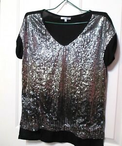 Valleygirl-Ladies-Black-and-silver-sequined-short-sleeved-top-size-14