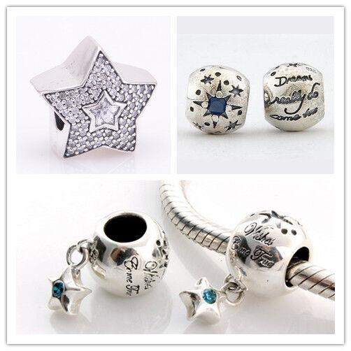 925 Solid Sterling Silver Come True Star CZ Bead fit European Charm Bracelet