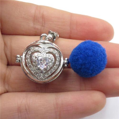 5pcs Silver Rhinestone Flower Multilayer Heart Aroma Locket Pendant