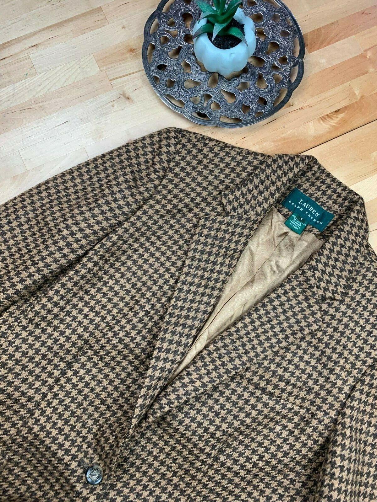 Ralph Lauren Sz 6 Houndstooth Wool Blazer kvinnor Tweed bspringaa Riding County Posh