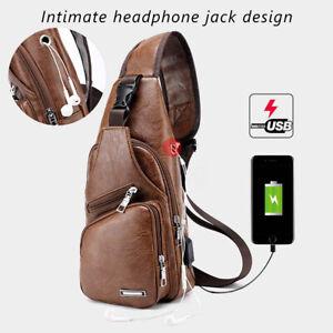 Detalles de Bolsa de Pecho Hombro Con Puerto de Carga USB de PU Cuero Bandolera Para Hombre