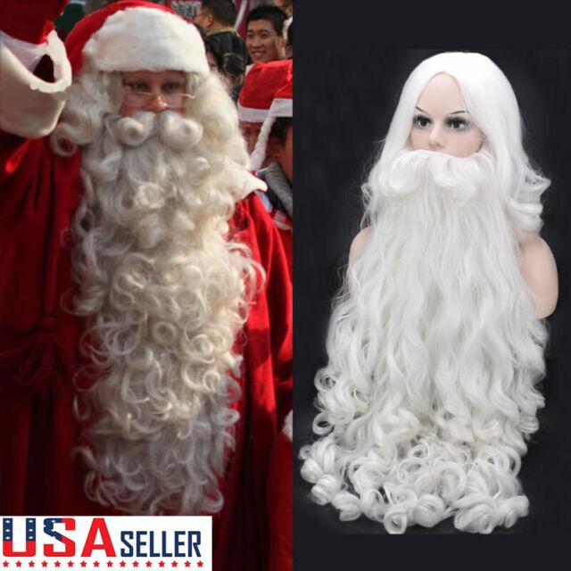 Long White Santa Claus Wig /& Beard Moses Fancy Dress Christmas Costume Accessory