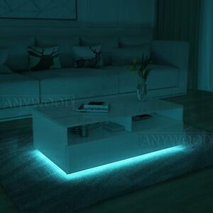 Details About Modern Rgb Led Light Coffee Table Tea Table All High Gloss Living Room Furniture