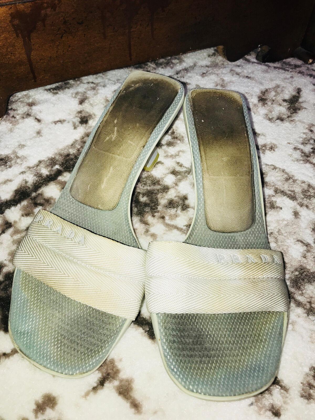 Auténtico Bolso Vintage Prada gris gris gris Sandalias Zapatos Bombas Tacones - 39.5 US 9 -  595  bajo precio del 40%