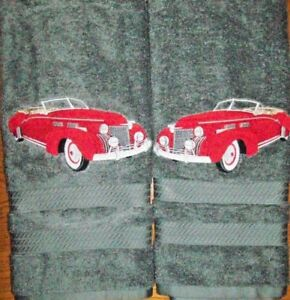 Vintage-Convertible-Car-Bathroom-Set-HAND-TOWELS-EMBROIDERED-Personalized