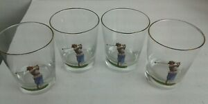 Vintage-Set-of-4-Double-Old-Fashioned-Glasses-Barware-Women-on-Golf-Course-4-5-034