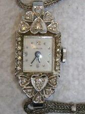 VINTAGE 1960's HAMILTON LADIES WATCH 14K WHITE GOLD WITH DIAMONDS- RUNNING