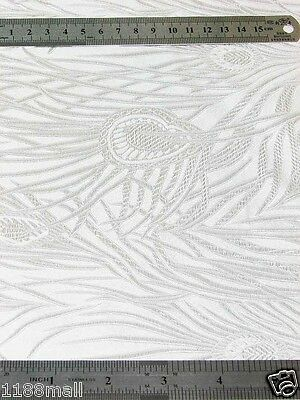 Chinese Brocade Fabric Material White Peacock Feather Motif Upholstery Yardage