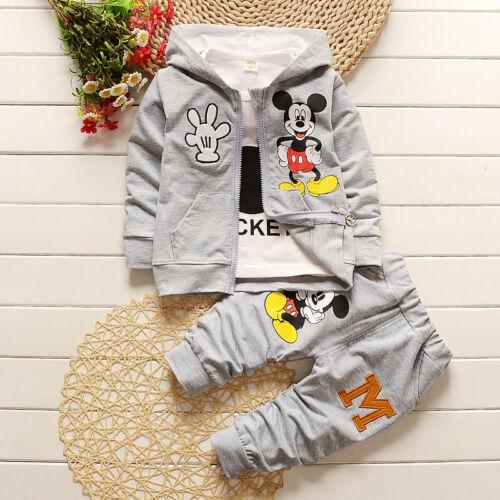 Kids Baby Boys Girls Cartoon Mickey Mouse Hoodie Coat+T-shirt+Pants 3Pcs Sets