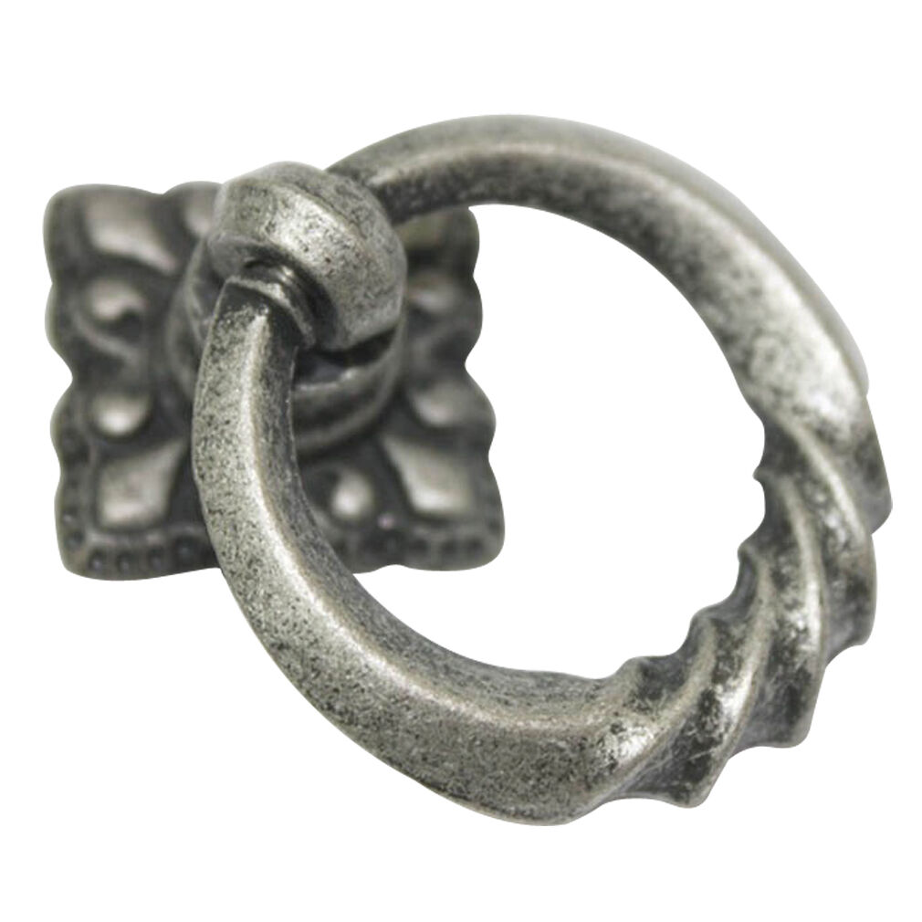 25 pcs Antique Pewter 35mm Ring Drop Knobs Cabinet Drawer Pull Handles WR-4483