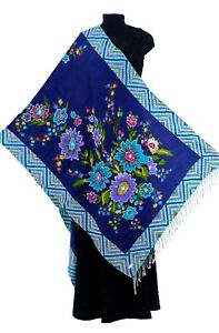 Ari-Embroidery-Floral-Printed-Shawl-Blue-Multi-Color-100-Pure-Soft-Wool-28-034-X80-034
