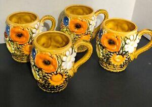 Vintage-Inarco-Ceramic-4-Piece-Set-Coffee-Mugs-Flower-Power-1970s-MCM-3D-4-1-2