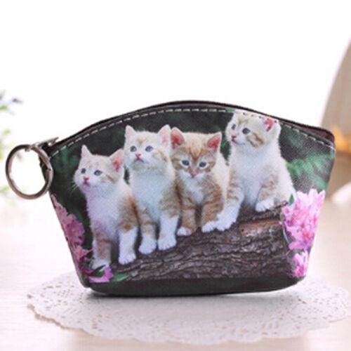 Girl Cat Coin Purses Women Wallets Animal Card Holder Key Bag Money Bag LD