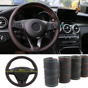 Universal-Real-Leather-DIY-Car-Steering-Wheel-Covers-Auto-Protection-Needle-38cm