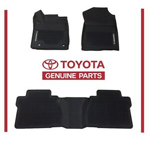 Premium All Season Weather Black Rubber Floor Mats For 2007-2018 Toyota Tundra