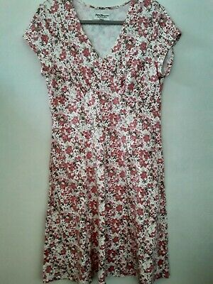 Norm Thompson Red Floral 34 Sleeve Dress V-Neck Womens PM Petite