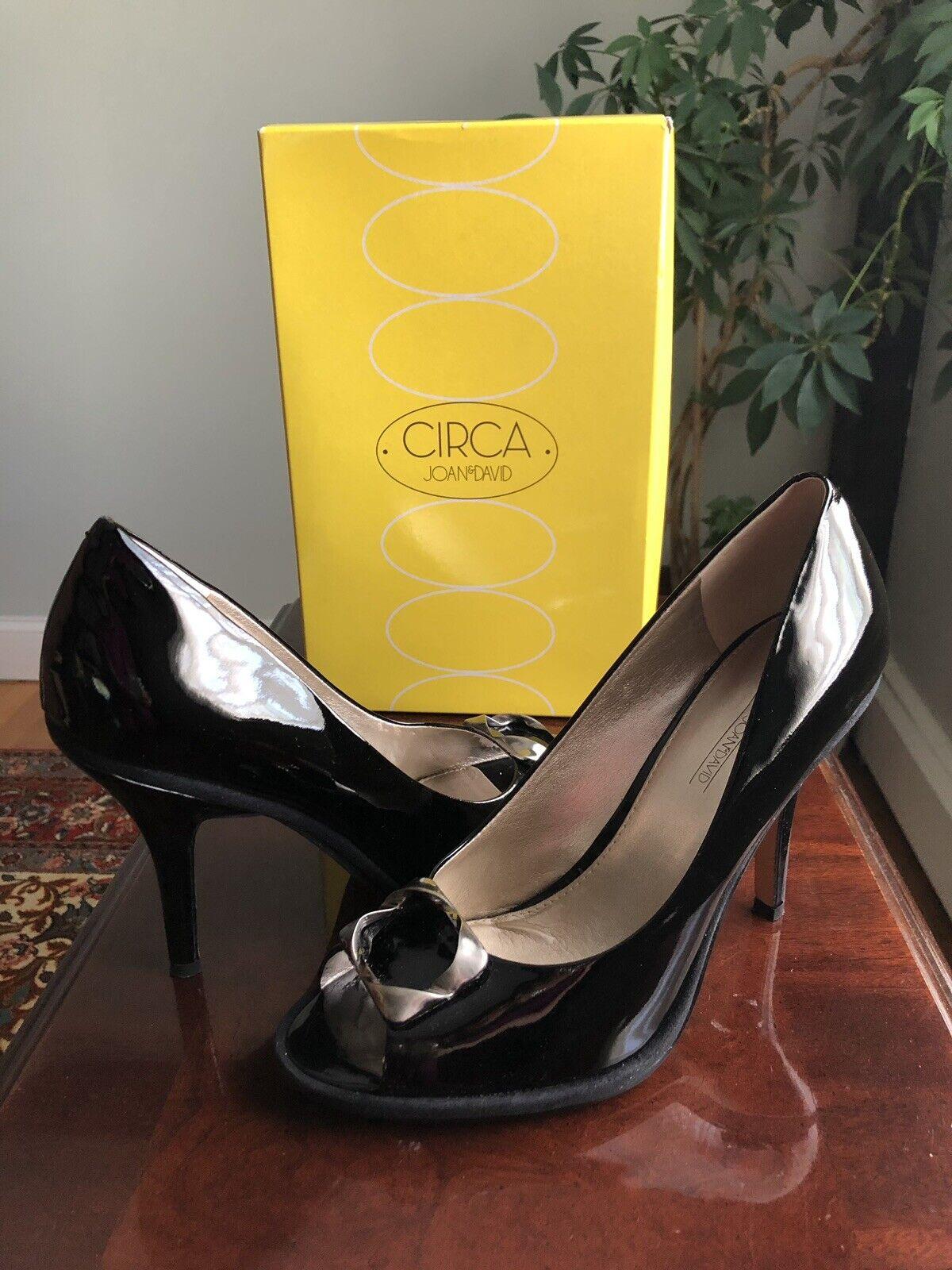 CIRCA JOAN & DAVID KAIROS Peep Toe Patent Leather Pumps 10 M