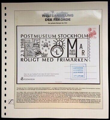 Analytisch Sweden 1988 Worlds Largest Stamp Grösster Stempel Welt Weltsammlung Der Rekorde Hindernis Entfernen