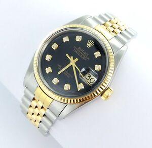 Rolex Datejust Herren Uhr Mit Diamanten Stahl Gold Ref 16013 Ebay