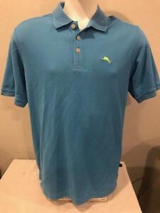 Tommy-Bahama-Men-039-s-Blue-Island-Polo-Textured-Shirt-Size-Medium-Green-Marlin-EUC