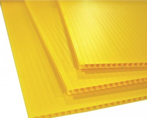 """25 Pack Corrugated Plastic 24/"""" x 18/"""" 4mm Yellow Blank Sign Sheets Horizontal"""
