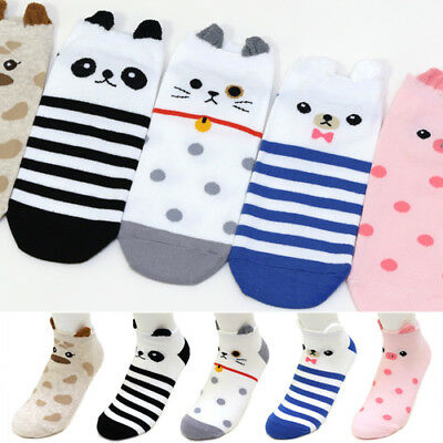 5 Pairs Little Animal Character Socks Women Big Kids Boy Girl Casual Ankle Socks
