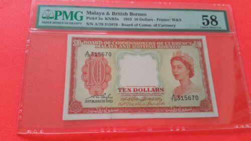 Malaya British Borneo $10 nice aunc