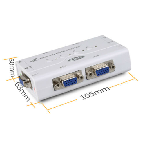 KVM Switch VGA 4 Port USB 2.0 with Cable Support Audio Printer Scanner 2048*1536