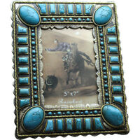 Western Decor Lodge Cabin Western Faux Turquoise Picture Frame 5 X 7