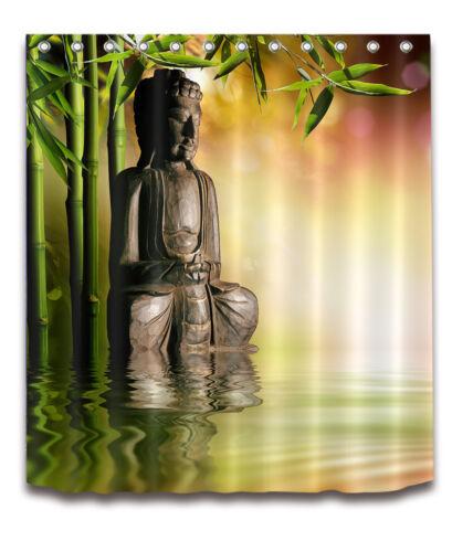 Zen Asian Buddha Spa Relax Shower Curtain Liner Bathroom Hooks Waterproof Fabric