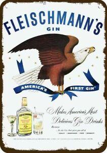1950 FLEISCHMANN'S GIN & AMERICAN BALD EAGLE Vintage Look DECORATIVE METAL SIGN