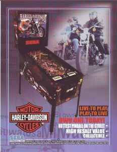 Sega-HARLEY-DAVIDSON-Original-1998-NOS-Pinball-Machine-Flyer-Motorcycle-Theme