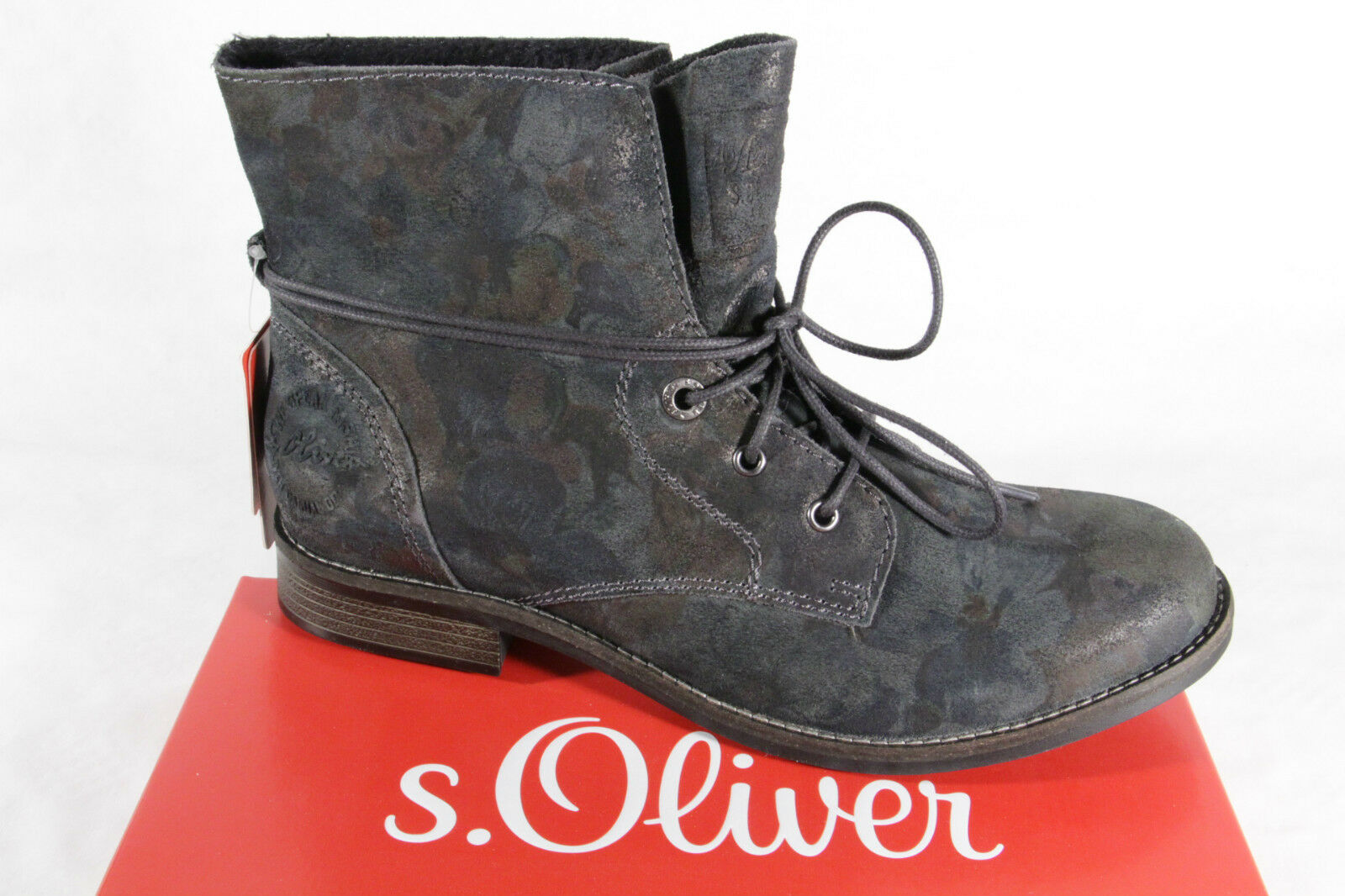 S.Oliver Boots, Real leather, grey/ multicolour, padded 25203 NEW