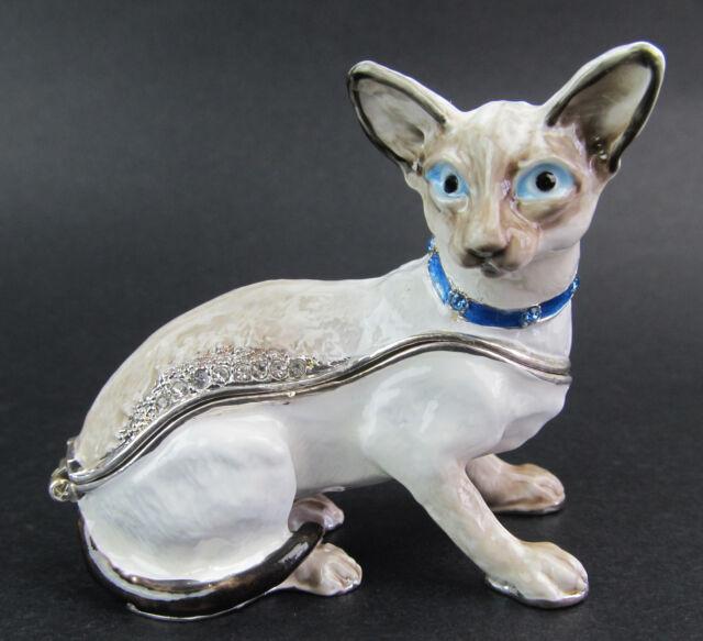Siamese Cat Jewelled & Enamelled Trinket Box