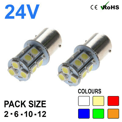 2 x Amber 24v LED BA15s 246 R10W 13 SMD Number Plate Interior Bulbs HGV Truck