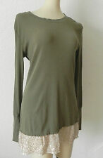 Dream Out Loud Tunic Top Size S long Sleeve Olive Green Cotton Sequin Trim